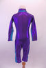 Biker length unitard is a purple metallic diving suit with teal stripe at sides, sleeves and collar.  It zips along the front all the way up to the neck. Comes with teal swimming cap with chin strap and purple sequin flower buttons. Back