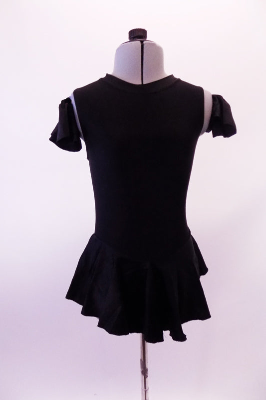Black leotard dress has a short flowy peplum skirt that attaches in a low front/back princess cut waistline. The back is an open keyhole. Comes with ruffled armband accessory. Front
