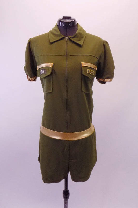 Army themed olive coloured short unitard with zip-front and lapelled collars. Comes with the army stripes and badges. Front