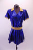 Royal blue shimmery tunic style short V-neck dress with side slits, has a gold lapel collar and matching gold belt. Comes with matching brief and hair accessory. Front