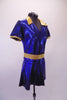 Royal blue shimmery tunic style short V-neck dress with side slits, has a gold lapel collar and matching gold belt. Comes with matching brief and hair accessory. Side