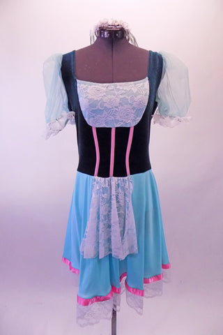 Ballet costume has teal velvet bodice with white lace bust and apron. The sheer aqua pouffe sleeves complement the aqua skirt. Pink ribbon detail accents the bodice and skirt edge. Wide white lace trim edges the skirt and sleeves. Comes with a white floral wreath accessory. Front