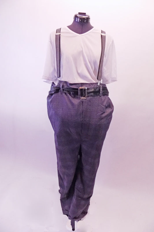 Old man themed costume has plaid pants attached to a white t-shirt style stretch top. The full unitard zips down the back. The costume is accented by a black belt and suspenders and is equipped with a large stuffed attached belly. Front