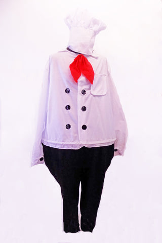 Chef themed costume has a hoop center at the waist of a white cotton chef jacket attached to black pants. The jacket has faux black buttons, front pocket and red scarf. Comes with a chef hat. Front