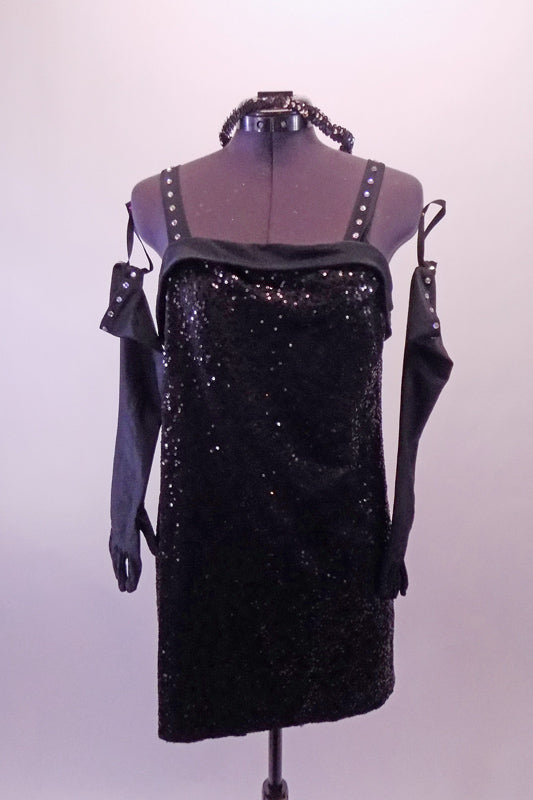 Fosse's frug inspired lack sequined tank dress has crystalled straps. Comes with long black crystalled gloves and sequined hair tie. Front
