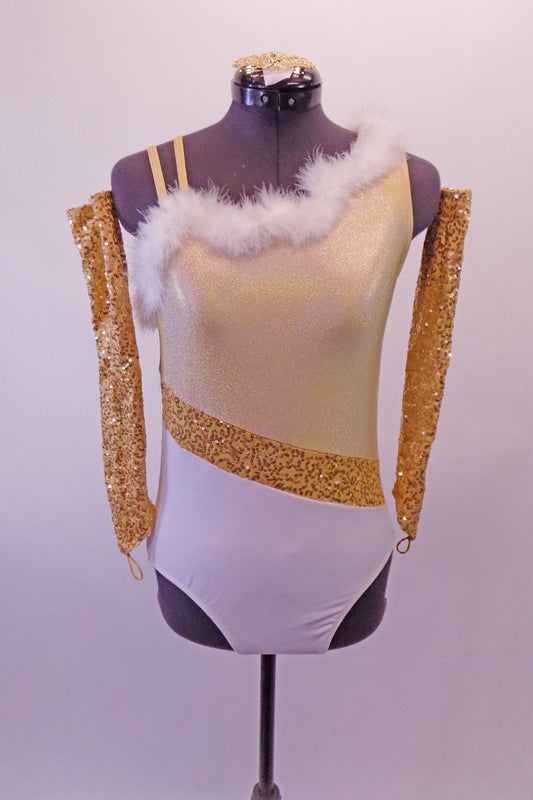 Gold & white single shoulder leotard has a light gold shimmery bust & white bottom separated by a gold sequin angled gold straps banded at the waist. The bust is lined with white marabou feather. The right shoulder has double straps that angle out at the back. Comes with gold sequined gauntlets & hair accessory. Front