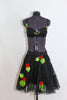 Black knee length layered crinoline skirt with grommets and 3D roses /leaves. Comes with a black bra  that has lace detailing and roses/leaves. front