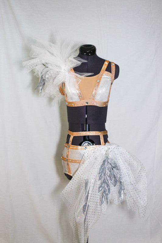 High waist shorts have gold/silver grid design with large side pouf. Bra shoulder covered with white and silver tulle sequined leaf embellishment, front