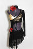 Salsa inspired black, sheer, long sleeved, one-shoulder dress, covers a gold bra. has red flower accent and hair accessory. Front
