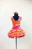 Dress has a wave of orange and yellow with white/pink flowers with crystal centers, back