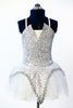 Silver/white glittered tutu dress with sequined bodice, peaked overlay on white tulle front.