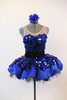 Blue tap costume / dress glitters with jumbo sequined fabric over crinoline underlay, front