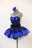 Blue tap costume / dress glitters with jumbo sequined fabric over crinoline underlay, side