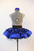 Blue tap costume / dress glitters with jumbo sequined fabric over crinoline underlay, back