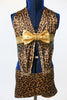 One piece leopard print, spandex jazz/acro costume,with halter style neck and bow, front