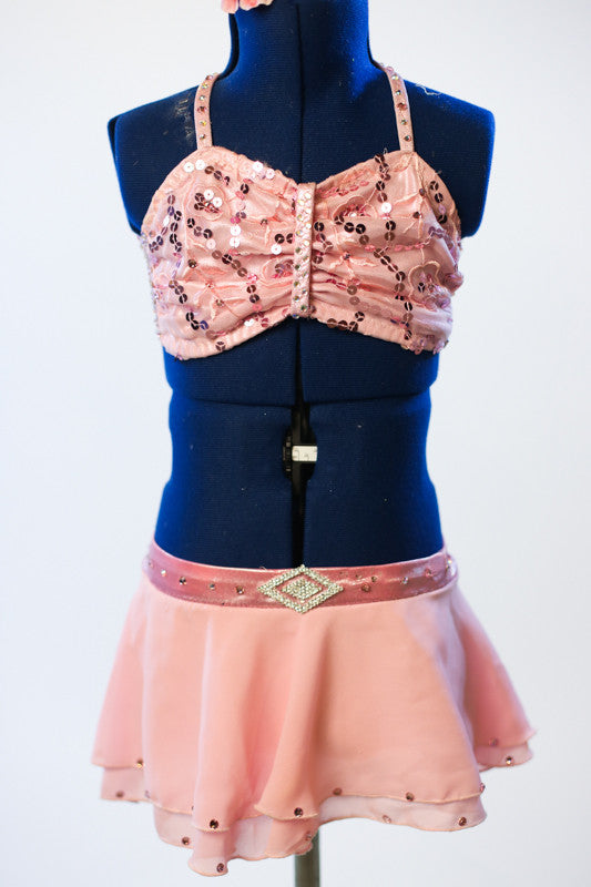 Pink sequined bra-top, with matching chiffon skirt. and Swarovski crystal accent on front waistband. front