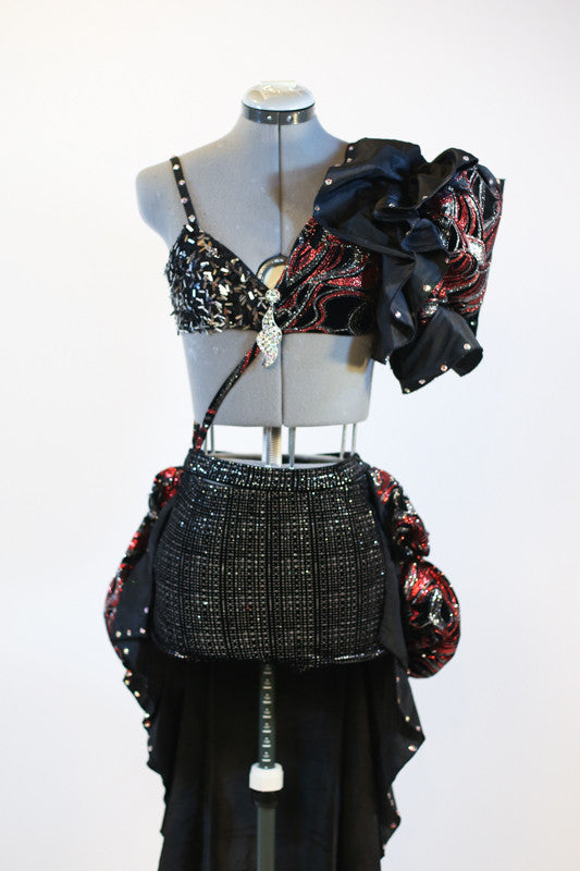 3 piece costume, red/black glitter velvet, with large shoulder pouf and bustled calf-length skirt, front.