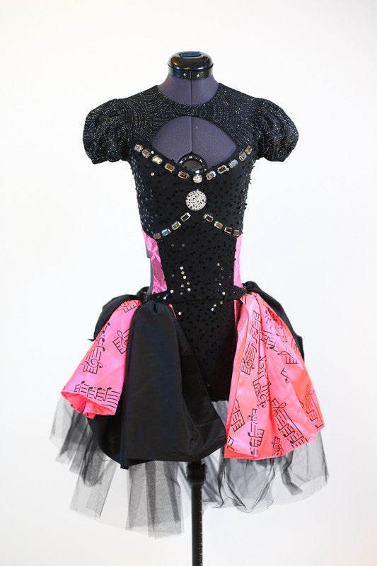jazz or tap costume black / pink  front