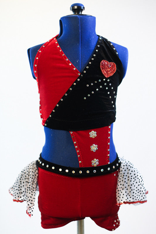 Red and black stretch velvet, 2 piece costume, with heart accent and a black/white polk-a dot, mesh skirt, front