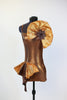 bronxe, unitard, jazz, or acro costume with with hip ruffle & crystal broach accent side