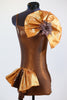 bronxe, unitard, jazz, or acro costume with with hip ruffle & crystal broach accent front