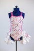 Pink and white one-piece bodysuit with white ruffled half skirt,front