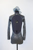 Galaxy Acro Costume silver/gray glitter spandex, open backed unitard back