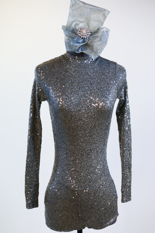 Galaxy Acro Costume silver/gray glitter spandex, open backed unitard front