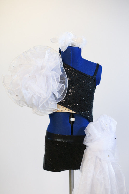 Black sequined jazz costume - one piece with front & back cutout. Organza pouf &roses on behind, front