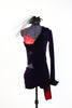 Purple stretch velvet tailcoat, covers  red  bra top and purple velvet shorts, front