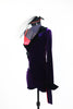 Purple stretch velvet tailcoat, covers  red  bra top and purple velvet shorts, side