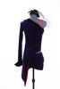 Purple stretch velvet tailcoat, covers  red  bra top and purple velvet shorts, back