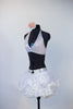 White ruffled/gathered pouf skirt has attached bottom and Swarovski detailing with matching triangle bra top, side