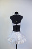 White ruffled/gathered pouf skirt has attached bottom and Swarovski detailing with matching triangle bra top, back