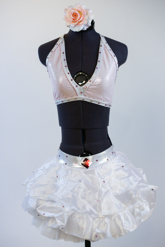 White ruffled/gathered pouf skirt has attached bottom and Swarovski detailing with matching triangle bra top, front