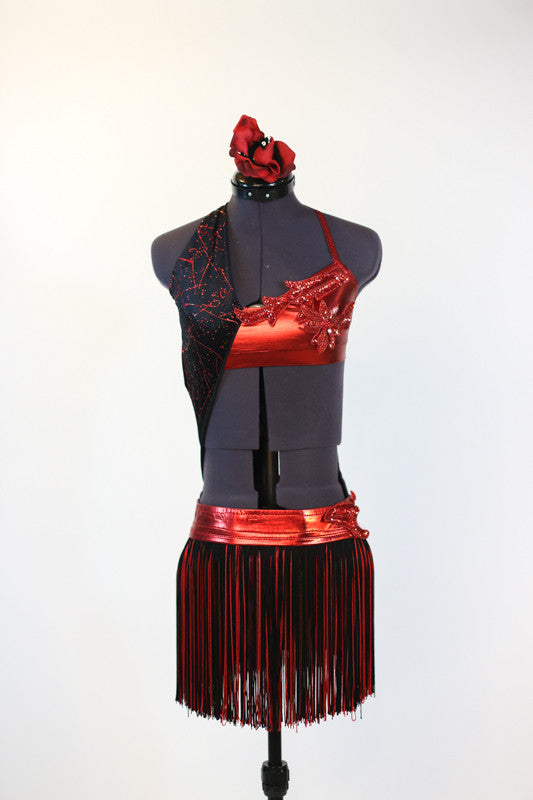 Red metallic & sparkle velvet 2 piece costume has halter neck and black/red fringe skirt, front