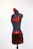 Red metallic & sparkle velvet 2 piece costume has halter neck and black/red fringe skirt, side