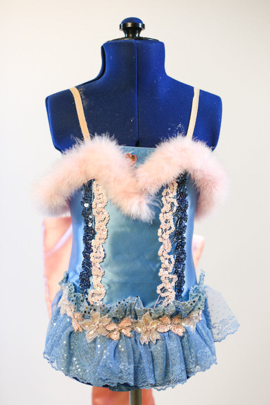Baby blue satin bodysuit with sequin detail, ruffles, pink marabou trim and large pink bow on back, front
