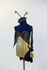 Black hologram spandex leotard has layers of gold and black ruffles. Comes with antennae hat and gantlets, side