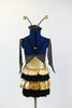 Black hologram spandex leotard has layers of gold and black ruffles. Comes with antennae hat and gantlets, back