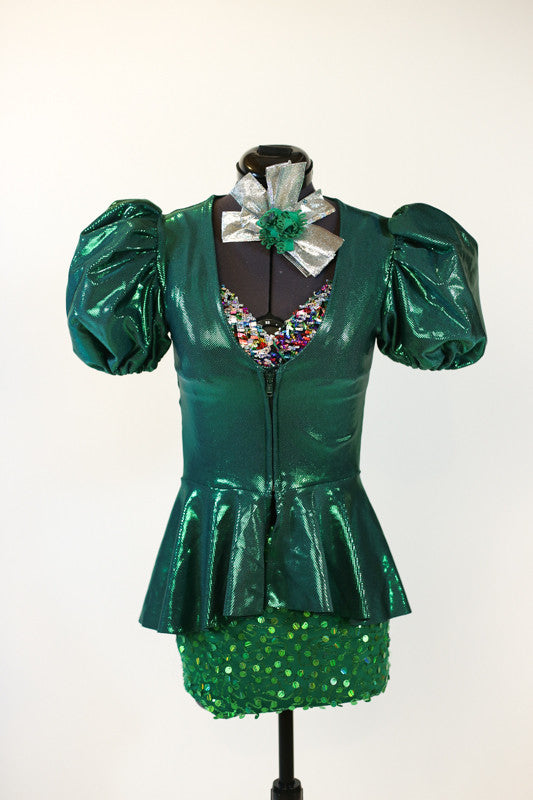 Green glitter spandex shorts, multi-coloured glitter bra, green metallic zip up jacket front