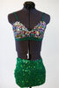 Green glitter spandex shorts, multi-coloured glitter bra, front