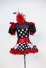 High neck bodysuit with pouf sleeves and keyhole back & varying patterns of polk-a-dot . Has a matching ruffled red tulle skirt and large red/black hairpiece, Front