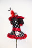 High neck bodysuit with pouf sleeves and keyhole back & varying patterns of polk-a-dot . Has a matching ruffled red tulle skirt and large red/black hairpiece, Side