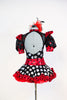 High neck bodysuit with pouf sleeves and keyhole back & varying patterns of polk-a-dot . Has a matching ruffled red tulle skirt and large red/black hairpiece, Back