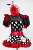 High neck bodysuit with pouf sleeves and keyhole back & varying patterns of polk-a-dot . Has a matching ruffled red tulle skirt and large red/black hairpiece, Front zoom