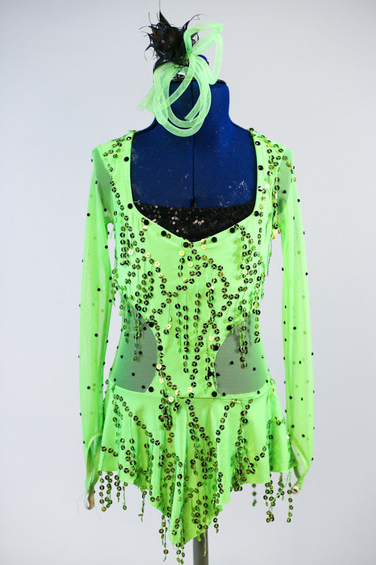 Neon Green Mesh bodysuit with sequin frills has attached solid green panty and black sequin insert. Comes with looping green hair accessory. Front zoom
