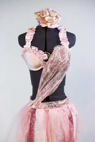 Pale pink bra has halter collar with pink satin ruffles  Has a crystal/beaded silk cascading to right hip Skirt has strips of varying pink delicate fabrics. Front zoom