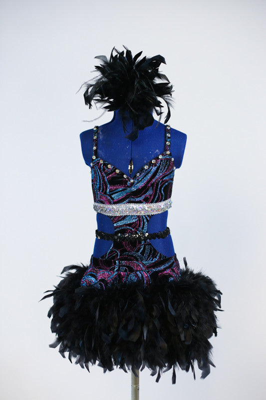 Purple and turquoise glitter stretch bodysuit with open sides, glittered band and  pull on skirt of black chandelle feathers. Comes with feather hair accessory. Front