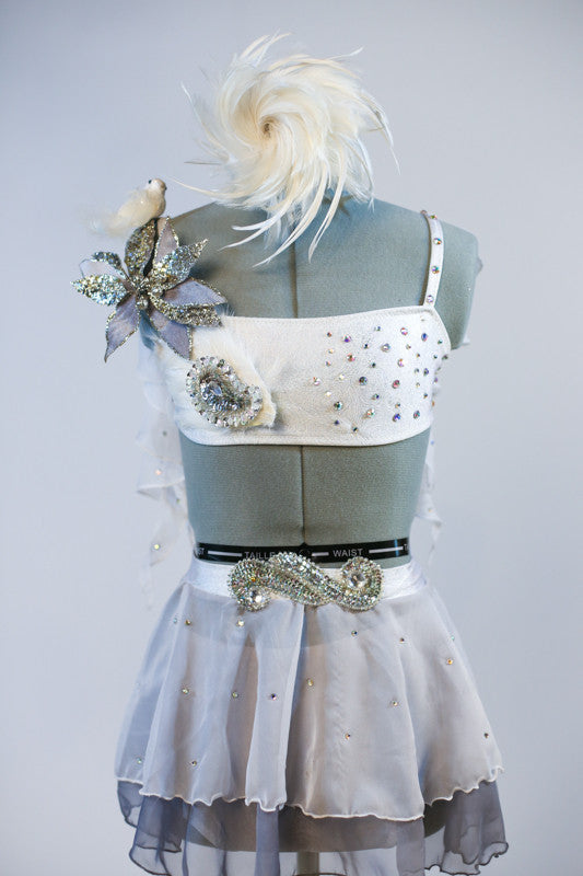 White/silver bra top covered with silver appliqué /flowers/feathers/crystals &bird. Skirt has layers white/grey chiffon. Separate panty and feather hair piece. Front zoom
